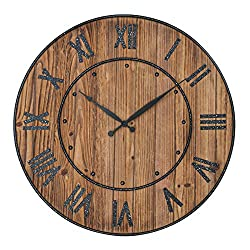 Decor Wall Clock 24 Inches, Decorative Wall Clock Large Size with Roman Numerals for Home, Office & School, Round, Wall Hung, Battery Operated, Rustic Wood Background with Metal Frame