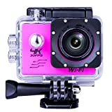 Sports Camera Sport Video 4K WIFI Action Cam 16 MP Underwater Camcorder HD 1080P and 1 Batteries 170° Wide-Angle Pink
