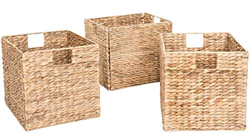 Decorative Hand-Woven Water Hyacinth Wicker Storage Baskets, Set of Three 13x11x11 Baskets Perfect for Shelving Units