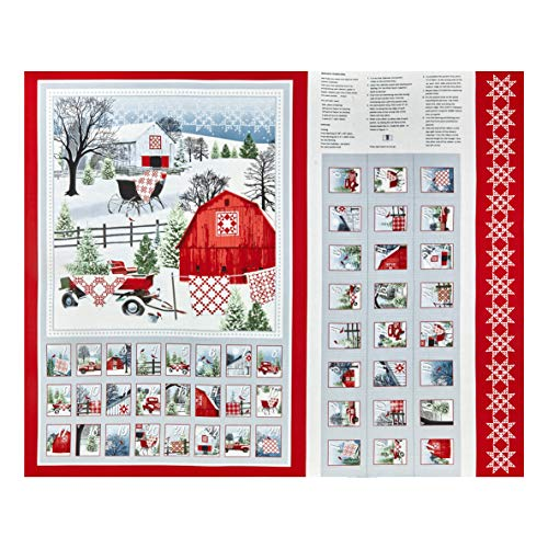 Henry Glass Holiday Heartland 36in Advent Calendar Panel Gray/Red Quilt Fabric