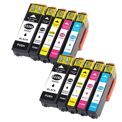 Oyat- cartuchos de tinta T3351T3361T3362T3363T3364,para impresora Epson XP-530XP-630XP-635XP-830 Black/Cyan/Magenta/Yellow Lot de 10