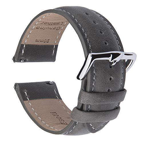 B&E Cinturini per Orologi Cinturino in Pelle a Sgancio Rapido- Cinturini Stile Elegante Braccialetto per Uomo Donna - 16mm 18mm 19mm 20mm 21mm 22mm (22mm, Grey Leather)