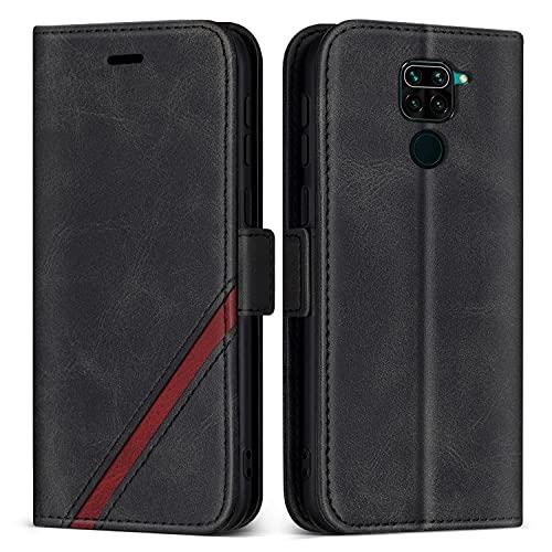 KKEIKO Cover per Xiaomi Redmi Note 9 / Redmi 10X 4G, Custodia in Pelle PU per Xiaomi Redmi Note 9 / Redmi 10X 4G, Magnetico Portafoglio Cover con Slot per Schede e Kickstand, Nero