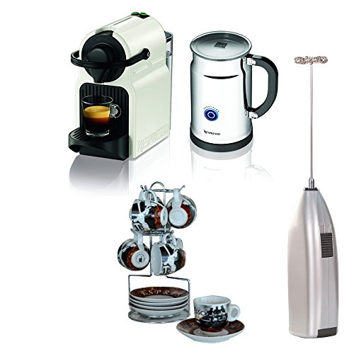 Nespresso Inissia Espresso Maker with Aeroccino Plus Milk Frother (White) + Handheld Milk Frother + 13pc Espresso Set