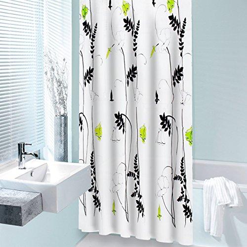 casa pura® Duschvorhang Idyll | waschbar | aus Polyester | inkl. 12 Befestigungsringen | Zwei Größen (180x180 cm)
