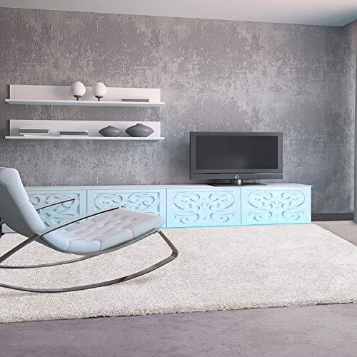 UNIVERSAL Alfombra salón de Pelo Largo Shaggy Aqua Liso Blanco 57x110 cm