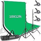 Neewer Sistema Soporte de Fondo de 2,6x3 Metros con Fondo de 3x3,6 Metros (Blanco, Negro, Verde) y Bolsa de Transporte para Retratos Estudio Fotográfico, Fotografía Producto