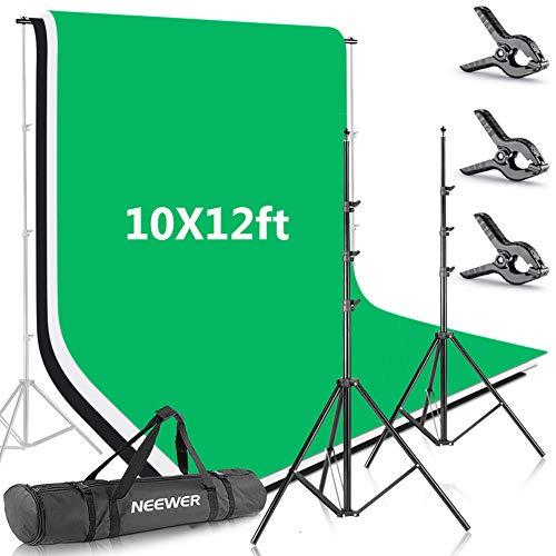 Neewer 2,6x3m Sistema di Supporto per Sfondo con 3x3,6m Fondale Bianco, Nero Verde & Borsone di Trasporto per Ritratti Foto di Prodotti Registrazioni Video in Studio