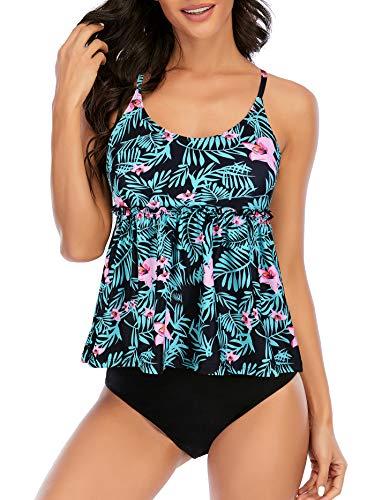American Trends Tankini trajes de baño para mujer con control de barriga de dos piezas trajes de baño con estampado floral, Verde (Green leaves), 6-8