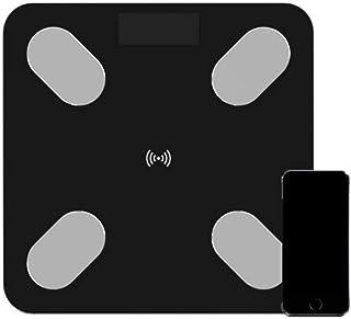 KLT Báscula de peso Bluetooth para el cuerpo de la báscula digital del baño inalámbrico de peso de la báscula del cuerpo con la aplicación del teléfono inteligente 180 Kg/400 libras de cocina negra