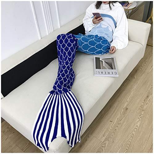 LZY Adultes en Tricot sirène Couverture de Queue, Comfy couvertures moelleuses sirène for Les Femmes, Les Adolescents et Les Filles, Les Enfants Seatail Sac de Couchage