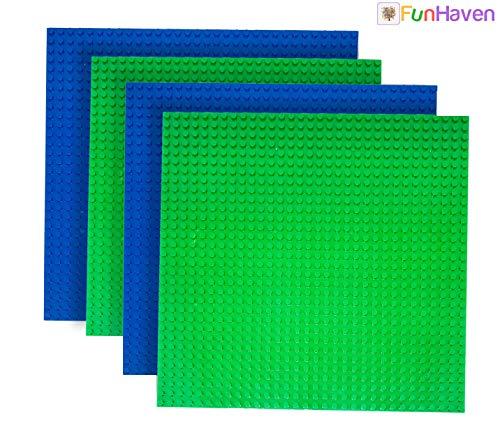 FunHaven Pack 2x Azul 2x Verde Grande Base Platos Ladrillo Construcción Placas Base Cabezal para Las Niñas Niños 32 X 32 Pendientes o 10x 10 Pulgadas Accesorios Plato Bases Compatible con Major Marcas