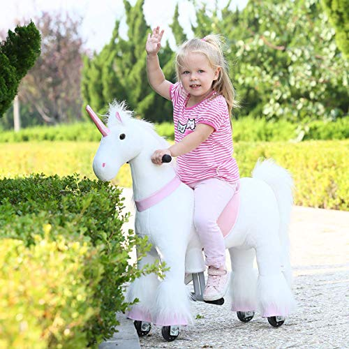 Gidygo Ride on Unicorn Pony Toy Walking Plush Animal Riding Horse Moving Unicorn Action Pony Horse Ride-on Toy for Age 3-6 or Up to 65 Pounds, Small Size Pink Unicorn