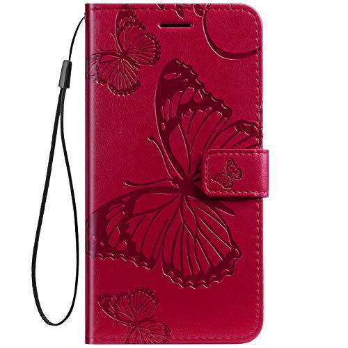 Herbests Kompatibel mit Leder Handy Schutzhülle Motorola Moto Z2 Force Lederhülle Schmetterling Muster Leder Handyhülle Handytasche Brieftasche Ledertasche Bookstyle Flip Hülle Cover Klapphülle,Rot