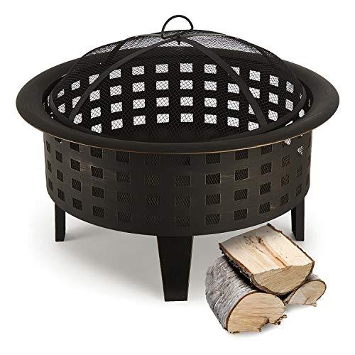 blumfeldt Boston - Feuerschale, Feuerkorb, Terassenofen, Gitternetz für Funkenschutz, antikes Design, Robustes Metall, stabile Standfüße, Schürhaken, ca. 7 kg, graphitschwarz