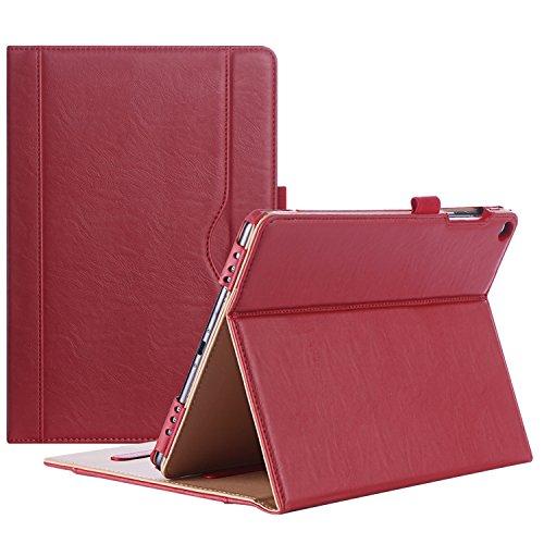 ProCase Custodia per ASUS ZenPad 3S 10 Z500M - Custodia Stand Folio per ASUS ZenPad 3S 10 Tablet,con Angoli di Visuale Multipli, Tasca per Schede Documenti -Rosso