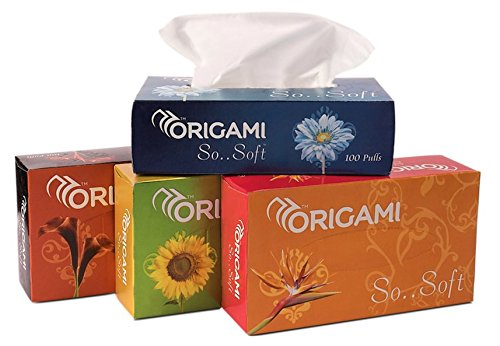 Origami So Soft 2 Ply Face Tissue Box - 100 Pulls (200 Sheets) per Box. Pack of 4 Boxes. Total 400 pulls