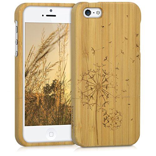 kwmobile Cover bambù compatibile con Apple iPhone SE (1.Gen 2016) / 5 / 5S - Custodia in bamboo naturale - Case rigida Backcover - Soffione marrone chiaro