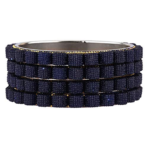 Efulgenz Indisches Armreif-Set, Bollywood-Stil, blaue Kristalle, Brautschmuck-Armband-Schmuck-Set für Frauen und Mädchen (4 Stück)