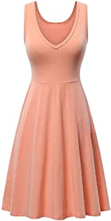 XINHEO Women's Sleeveless Mid-Length Summer Tank Tops V-Neck Pockets Dresses