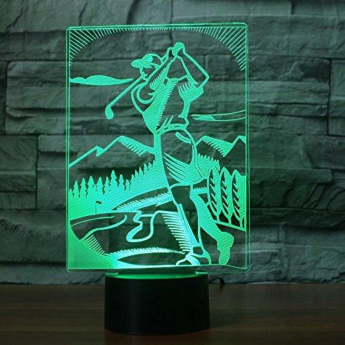 Spelen Golf 3D Illusie Lamp, LED 3D Nachtlampje 7 Kleuren veranderen, met afstandsbediening met USB-kabel voor Kerstmis Verjaardag Kindergeschenken, Slaapkamer Decoratie, Office Decoratie