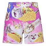 RAISEVERN Ragazzi Cool Kids Pizza Cats Stampato Swim Trunks Consiglio Shorts con Tasche 11-12T