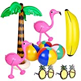 TUPARKA 10 PCS Flamencos Inflables Palmeras Juguetes Pelotas de Playa Inflables Piña de Banana Gafas de Sol para la Fiesta de Hawaii Luau Party Beach Backdrop