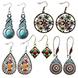 5 Pairs National Style Bohemian Vintage Dangle Earrings Ethnic Petal Beaded Statement Hollow Water Drop Shaped Alloy Long Boho Retro Rhinestone Earring for Women Girls