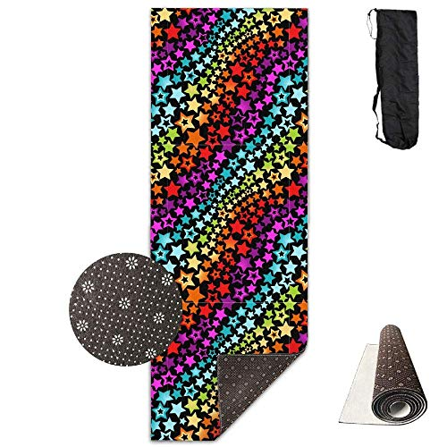 YYRR tapis de yoga Unisex Rainbow Stars Custom Printing Yoga Mats with Carrying Bag