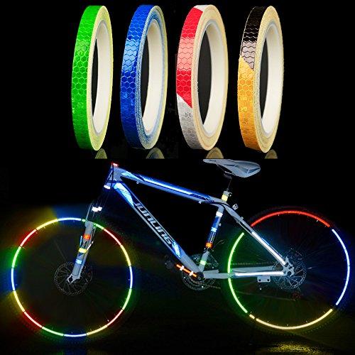 Fahrrad Reflektierende Aufkleber,4 Stück Fahrradaufkleber,Motorrad Reifen Aufkleber,Mountainbike Reflektierende band,Reflektierende Selbstklebende Sicherheit Warnung Conspicuity Nacht Reflektor Tape