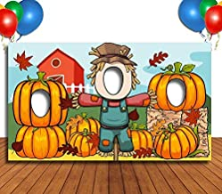 Pumpkins and Scarecrow Hole in Face Banner, Face Cutout, Party Selfie Photo Prop, Birthday Decoration