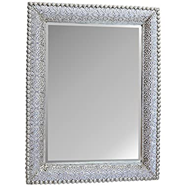Lulu Decor, Lacy Silver Metal Beveled Wall Mirror Frame size 30  x 22  (Lacy Rectangle)