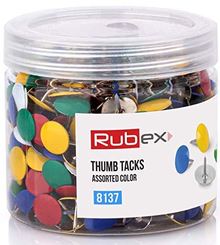 Rubex - Pasadores de empuje de colores, cabeza de plástico surtida, tachuelas estándar para pulgar con punta de acero, pasadores para tableros de corcho para paredes, tablero de...