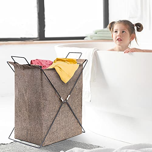 SVOPY Collapsible Laundry Hamper-Foldable Laundry Basket Large Cloth Organizer Basket Bin Portable Lightweight Washing Storage Dirty Clothes Bag with Extend Handles for Bathroom Bedroom Home