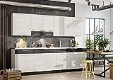 Muebles de Cocina Completa 260 cms Color Madera y Grafito, zocalos incluidos, ref-49a NO Incluye: Fregadero NI Grifo