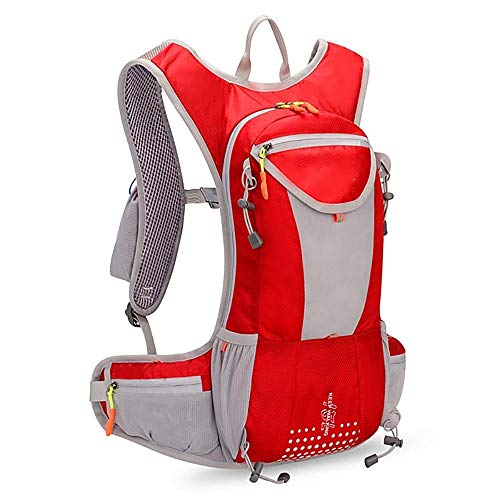 MH-RING Mountain Bike backpack, Waterproof Bicycle Rucksack with Reflective Strips and a Water Tube, Light Backpack for Men's and Women's Outdoor Travel and Camping (Color : Red)