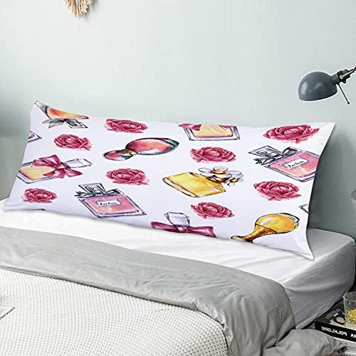 MIFSOIAVV Funda de Almohada Larga Perfumes Vintage Flores Belleza y Moda Protector de Almohada con Cremallera Transpirable Suave Antiarrugas Sofá Dormitorio 50x137cm