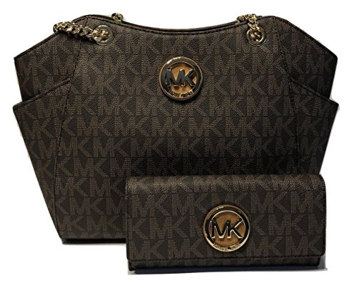 Michael Kors Jet Set Travel Large Chain Shoulder Tote Bundle with Michael Kors Fulton Flap Continental Wallet (Signature Brown/Acorn)