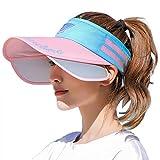 [LeafIn]サンバイザー レディース UVカット キャップ 帽子 メンズ 夏 つば広 吸汗 日よけ 日焼け防止 つば広幅調節可能 紫外線対策 オールシーズン 登山 釣り 自転車 通勤 サイキング 作業 ガーデニング 男女兼用 (ピンクXブルー)
