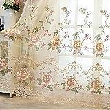 Cortinas bordadas europeas de lujo para dormitorio, villa, cortinas de chenilla para ventana de casa, WP321C-tul, 1 pieza de 400 x 265 cm, gancho