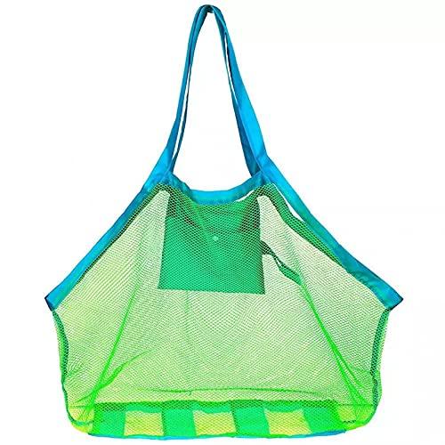 JUQIAO Tragbare Große Mesh Strandtasche Baby Beach Spielzeug Kleidung Handtuch Aufbewahrungspaket