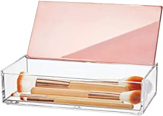 mDesign Small Makeup Organizer Box with Decorative Lid for Vanity Countertops, Cabinet - Store Makeup Brushes, Eye Shadow Palettes, Lipstick, Lip Gloss, Blush, Jewelry - Plastic, Clear/Rose Gold