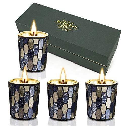 CREASHINE Vela perfumada,Regalos sofisticados para Hombres - Juego de Velas perfumadas a Mano, Lavanda, tarocco de Naranja, Copal y Madera de agil para aliviar el estrés y la aromaterapia