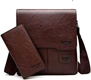 JEEP Bag with Wallet for iPad and Personal Supplies - Dark Brown