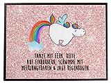 Mr. & Mrs. Panda Kinder, Schreibtisch, Schreibtischunterlage Einhorn Pegasus mit Spruch - Farbe Glitzer Rosa