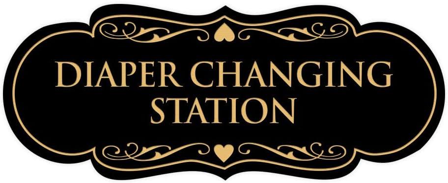 Signs ByLITA Designer Diaper Changing Station Sign(Black Gold) - Medium