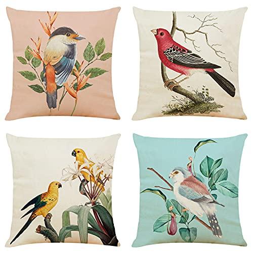 Pintura Acuarela Lindo pájaro flor cojín almohada 45x45cm sofá almohada 4 piezas conjunto 003683