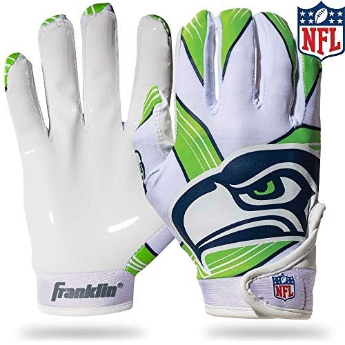 Franklin Sports Seattle Seahawks Youth NFL Football Receiver Gloves - Receiver Gloves for Kids - NFL Team Logos and Silicone Palm - Youth S/XS Pair