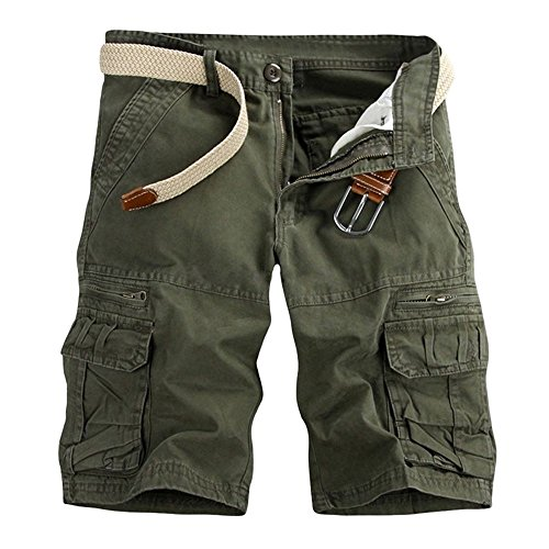 Aiserkly Männer Casual Pure Color Outdoor Pocket Strand Arbeitshose Cargo Shorts Hose Herren Cargohose Chinohose Strandhosen Sommer Freizeithose Armeegrün 32