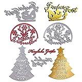 MEJOSER 4 Set Weihnachten Glückwunsch Stanzschablone Stanzbögen Prägeschablone Silber Schriftzüge